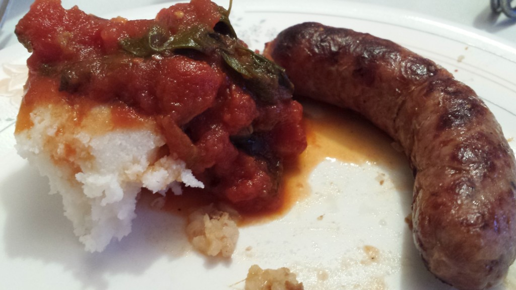 Boerewors with pap and tomato sauce