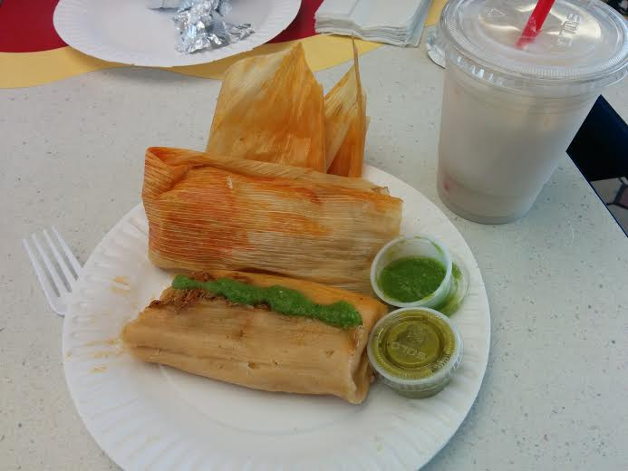 2 Tamales and Horchata for about $7