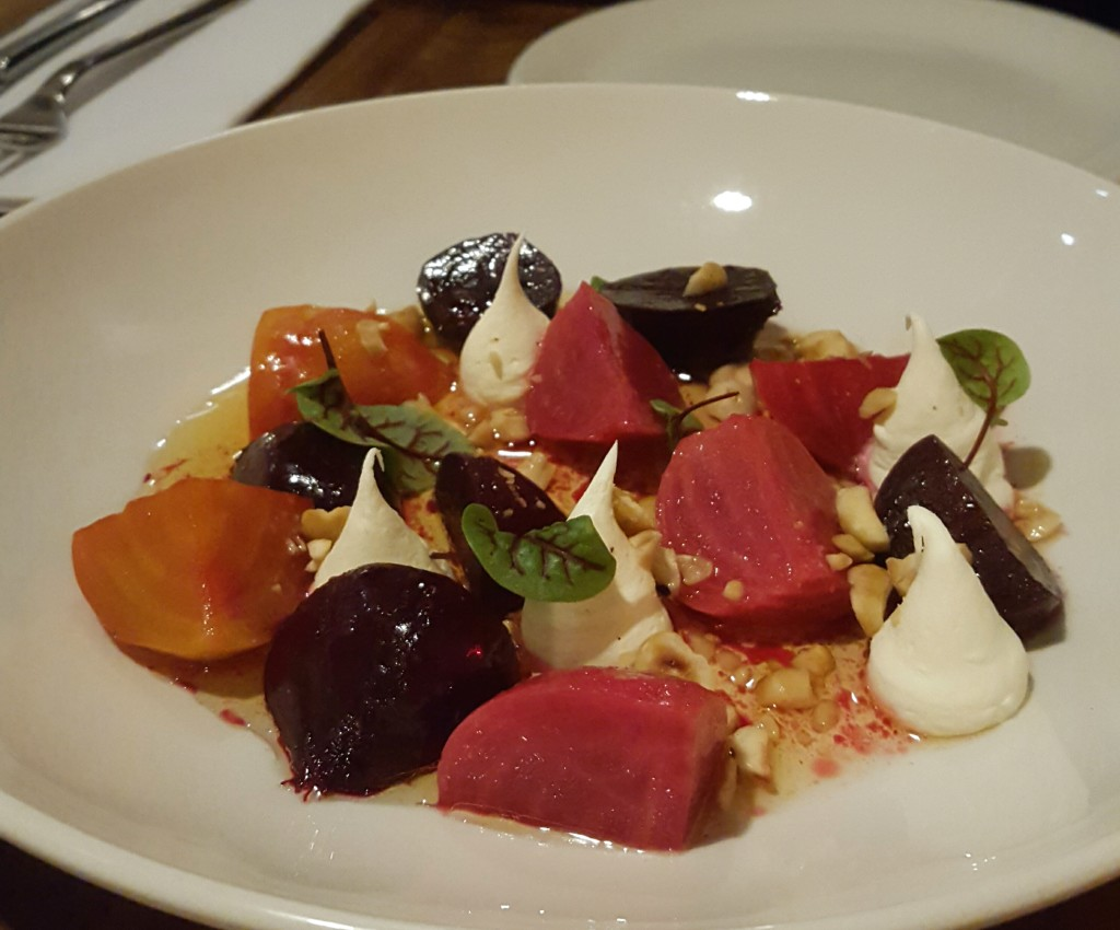 Beets with Mascarpone and hazelnuts